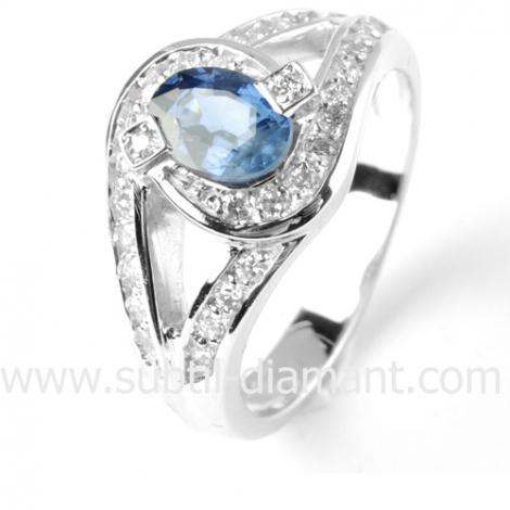 Bague saphir en Or Blanc diamant Hélène -12379 SA