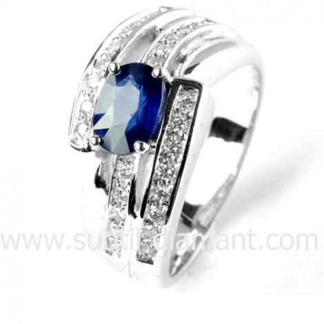 Bague saphir en Or Blanc diamant Katya -12518 SA
