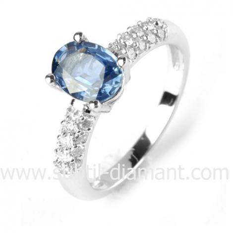 Bague saphir en Or Blanc diamant Lara -12491 SA