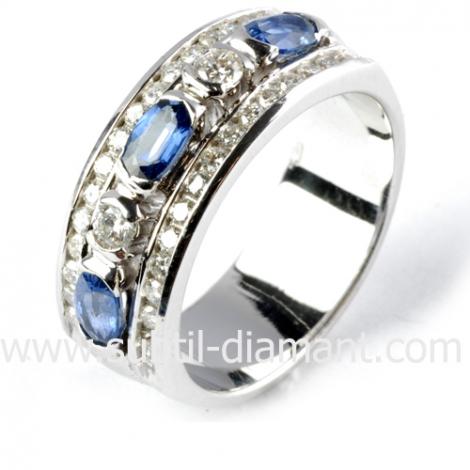 Bague saphir en Or Blanc diamant Marinella -11627 SA