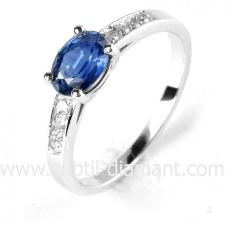 Bague saphir en Or Blanc diamant Milles éclats -12081 SA