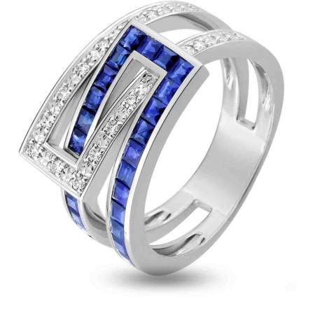 Bague Saphir en Or Blanc diamant Princesse -1.6168.S1