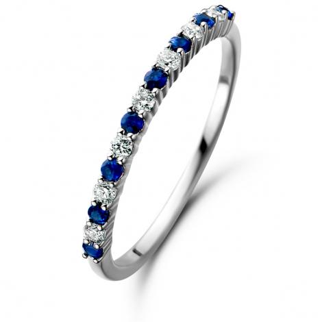 Bague Saphir et Diamants en Or Blanc diamant Ambre -061655SA