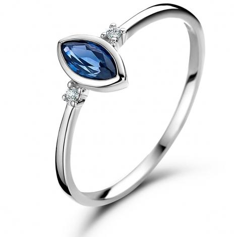 Bague Saphir et Diamants en Or Blanc diamant Amélie -060746SA