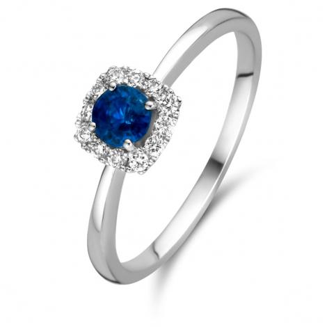 Bague Saphir et Diamants en Or Blanc diamant Tahiti -053883SA