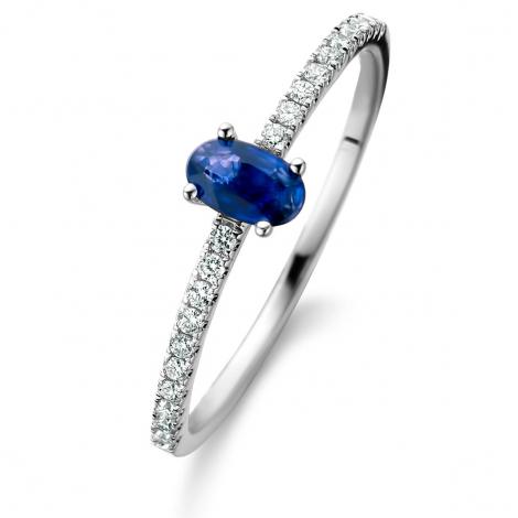 Bague Saphir et Diamants en Or Blanc diamant Yang -061660SA