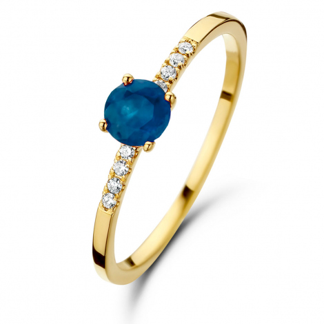 Bague Saphir et Diamants en Or Jaune diamant Caresse -061657SA