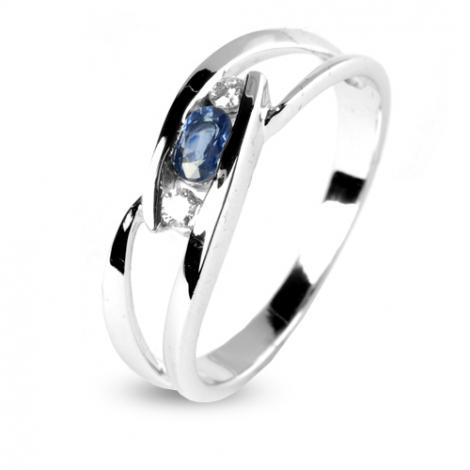 Bague saphir sertie de deux diamants en Or Blanc diamant Forever -12562-SA