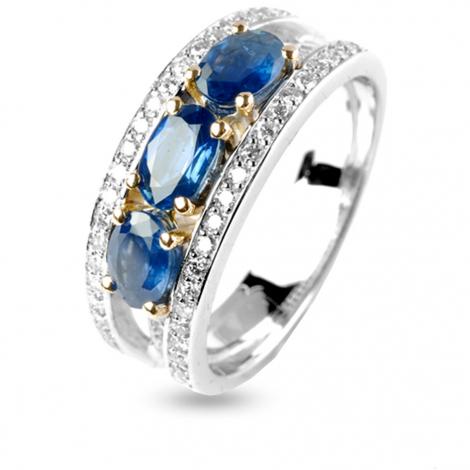Bague Saphir trilogie et diamants en Or Blanc diamant Uranie -12296SA