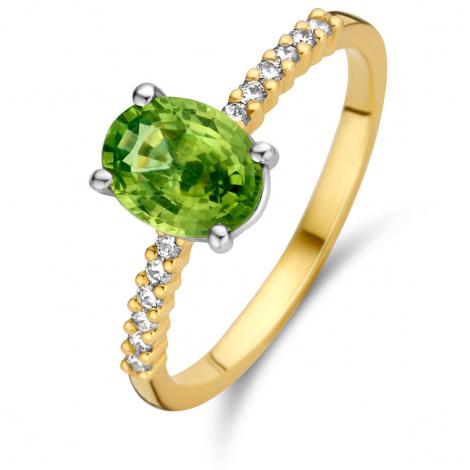 Bague Saphir Vert et Diamants en Or Jaune diamant Mahealani -063141EA