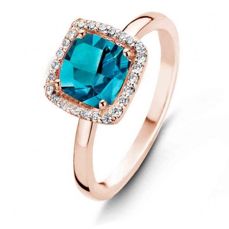 Bague Topaze London Blue et Diamants One More - Etna 0.1 ct  - Etna 050611TA