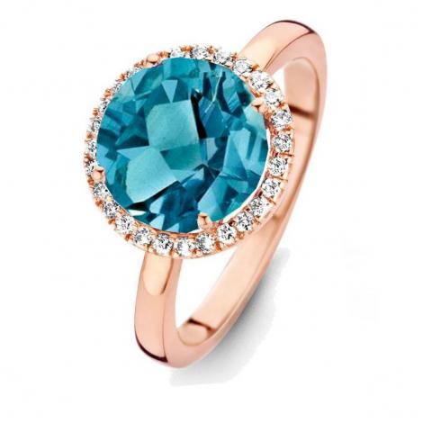 Bague Topaze London Blue et diamants One More - Etna 0.16 ct  - Etna 053633TA