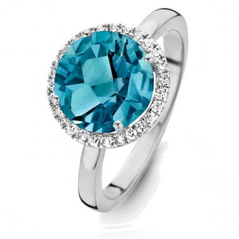 Bague Topaze London Blue et diamants One More - Etna 0.16 ct  - Etna 053652TA