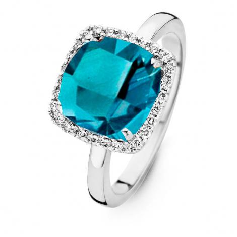 Bague Topaze London Blue et Diamants One More - Etna 0.22 ct  - Etna 053926AT