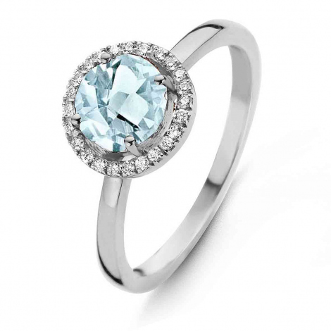 Bague Topaze Sky Blue et diamants One More - Etna 0.1 ct  - Etna 050594TT