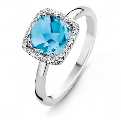 Bague Topaze Swiss Blue et Diamants One More 0.1 ct  - Etna 050452AT