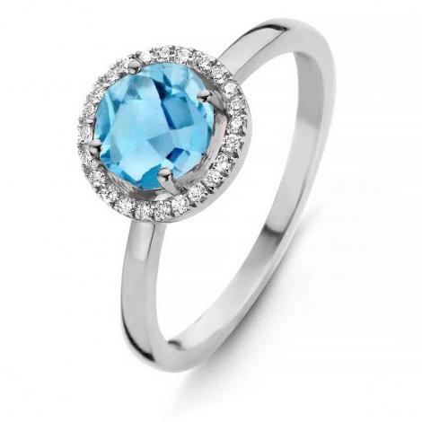 Bague Topaze Swiss Blue et diamants One More - Etna 0.1 ct  - Etna 050594AT