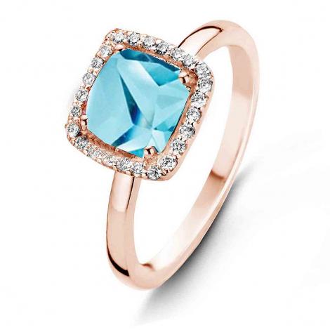 Bague Topaze Swiss Blue et Diamants One More - Etna 0.1 ct  - Etna 050611AT