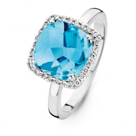 Bague Topaze Swiss Blue et Diamants One More - Etna 0.22 ct  - Etna 053926TT