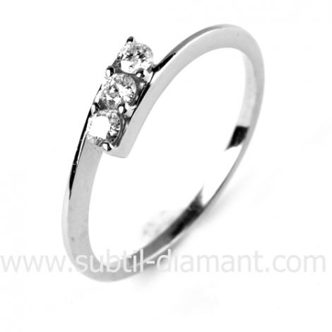 Bague trilogie diamant  0.12 ct - Romance - 12178 BT 0.12