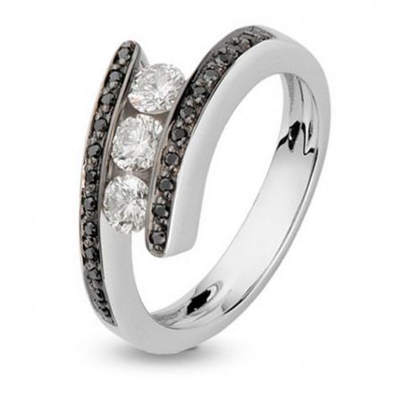 Bague trilogie et diamant noir 0.66 ct - Amanda - 422065RH