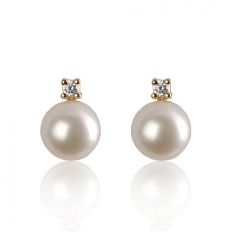 Boucle d'oreille perle de culture - 8.5 mm-Astrid- BO1338PLC-1