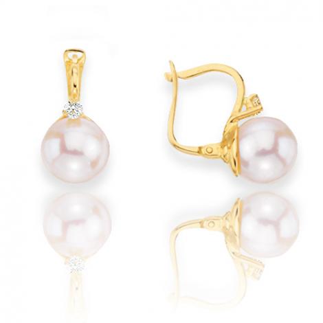 Boucle d'oreille perle de culture - 8 mm-Coralyne- B16906