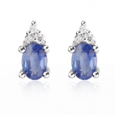 Boucle d'oreille saphir  diamant Or Blanc Caresse - BO0688-SA