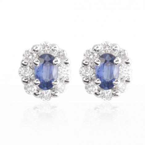 Boucle d'oreille saphir  diamant Or Blanc Nymphea - BO1104-SA