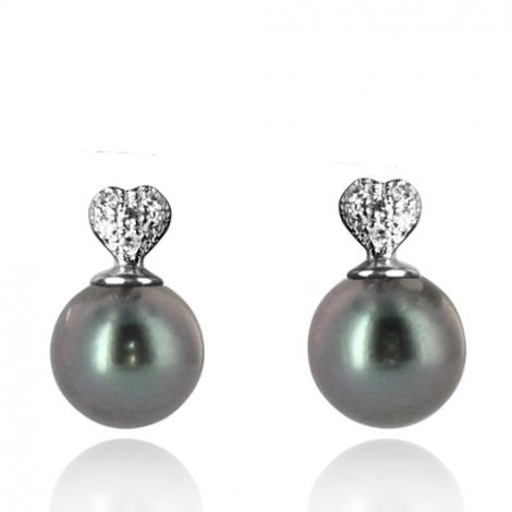 Boucle perle de Tahiti - 7-8 mm-Hannah- ref B11531