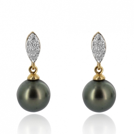 Boucle perle de Tahiti - 8-8.5 mm-Stefania- ref B15984