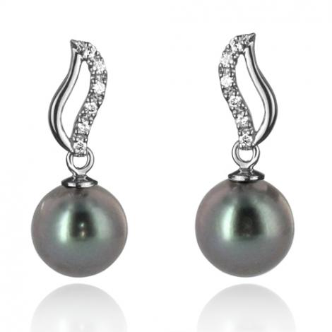 Boucle perle de Tahiti - 8-9 mm-Rhodia- ref B15920