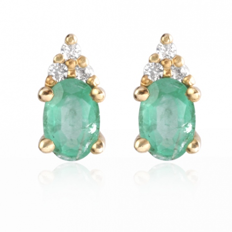 Boucles d'oreille émeraude diamant Or Blanc Attachement-BO0689-EM