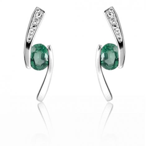 Boucles d'oreille émeraude diamant Or Blanc Aurèlie-BO01397EM