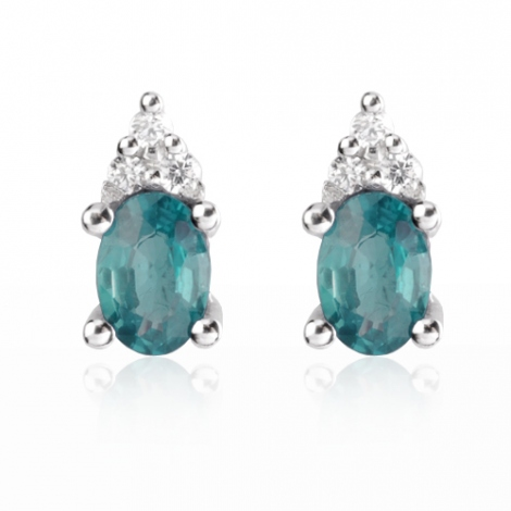 Boucles d'oreille émeraude diamant Or Blanc Barbara-BO0688-EM