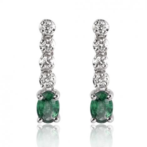Boucles d'oreille émeraude diamant Or Blanc Dalia-BO1146-EM
