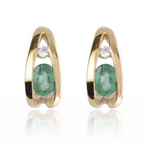 Boucles d'oreille émeraude diamant Or Blanc Delphes-BO0835-E