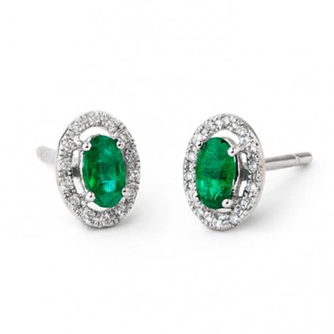 Boucles d'oreille émeraude diamant Or Blanc -E5204FMPWAY0O