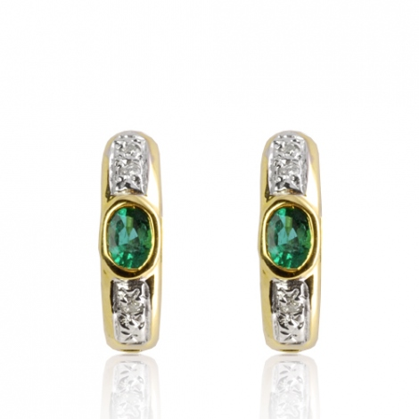 Boucles d'oreille émeraude diamant Or Blanc Eleonora-BO01425EM