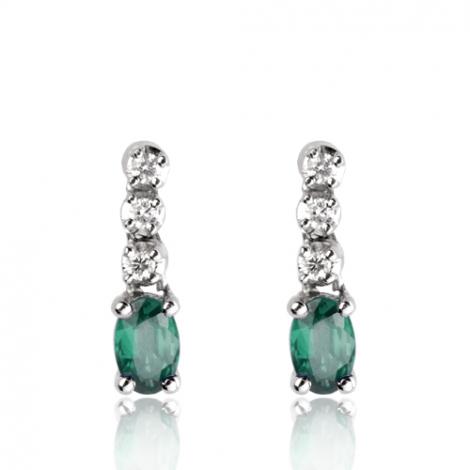 Boucles d'oreille émeraude diamant Or Blanc Elsa-BO1151-EM