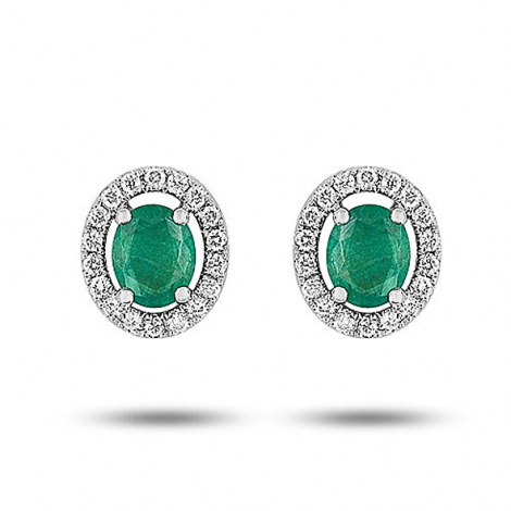 Boucles d'oreille émeraude diamant Or Blanc Érika-9VK240GEB