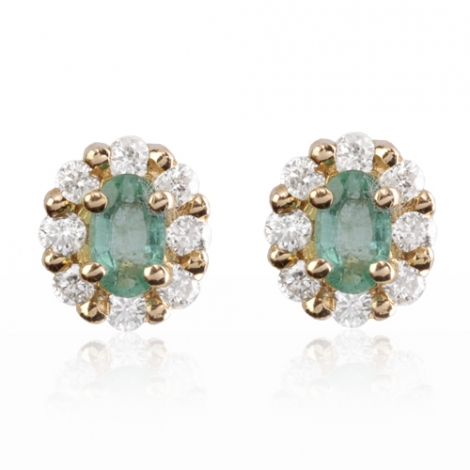 Boucles d'oreille émeraude diamant Or Blanc Léana-BO1104-EM