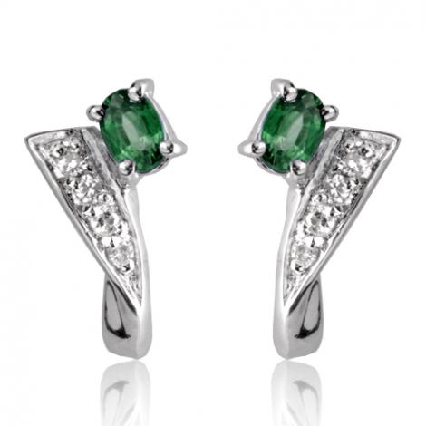 Boucles d'oreille émeraude diamant Or Blanc Lise-BO01334EM