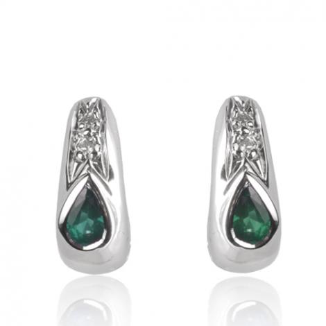 Boucles d'oreille émeraude diamant Or Blanc Magnificence-BO01426EM