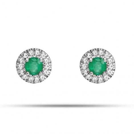 Boucles d'oreille émeraude diamant Or Blanc Taranis-2.2096.E1