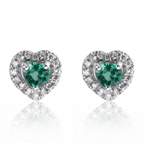 Boucles d'oreille émeraude diamant Or Blanc Usha-BO01444EM