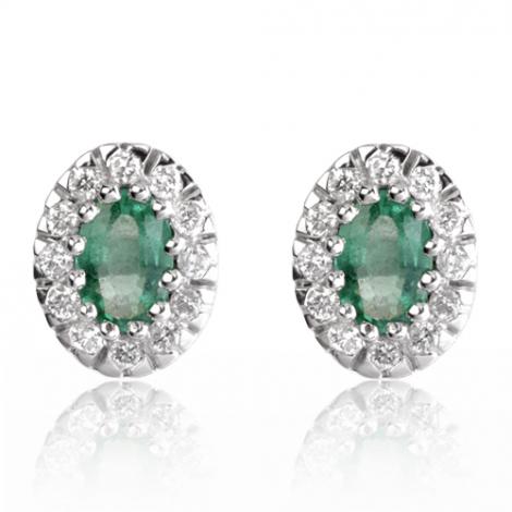 Boucles d'oreille émeraude diamant Or Blanc Ysaline-BO01367EM