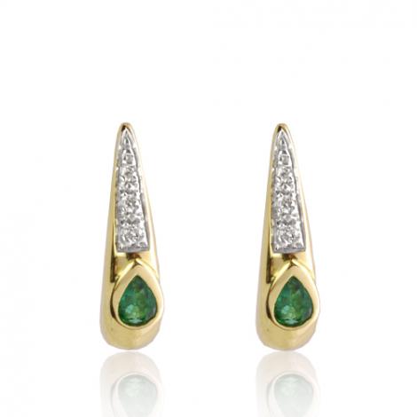 Boucles d'oreille émeraude diamant Or Jaune Leya-BO01421EM