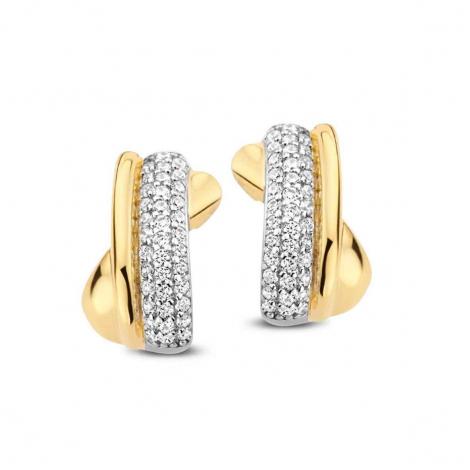 Boucles d'oreilles bicolores serties de zirconium Naiomy Silver Silver - Femme - Luana - N1H56