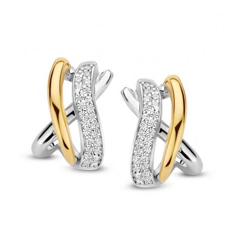 Boucles d'oreilles bicolores serties de zirconium Silver - Femme - Avera - N1C56